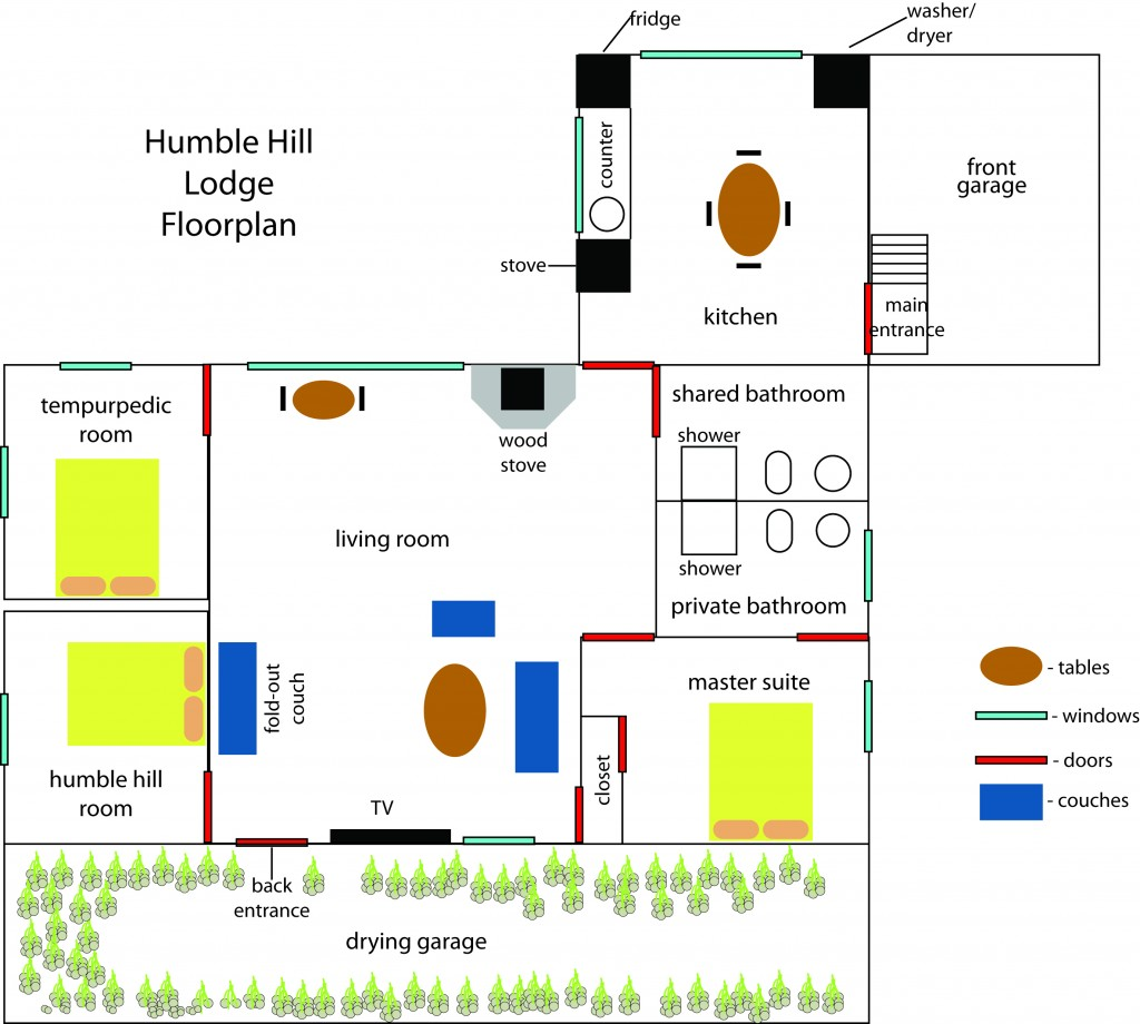 The layout of the Lodge.